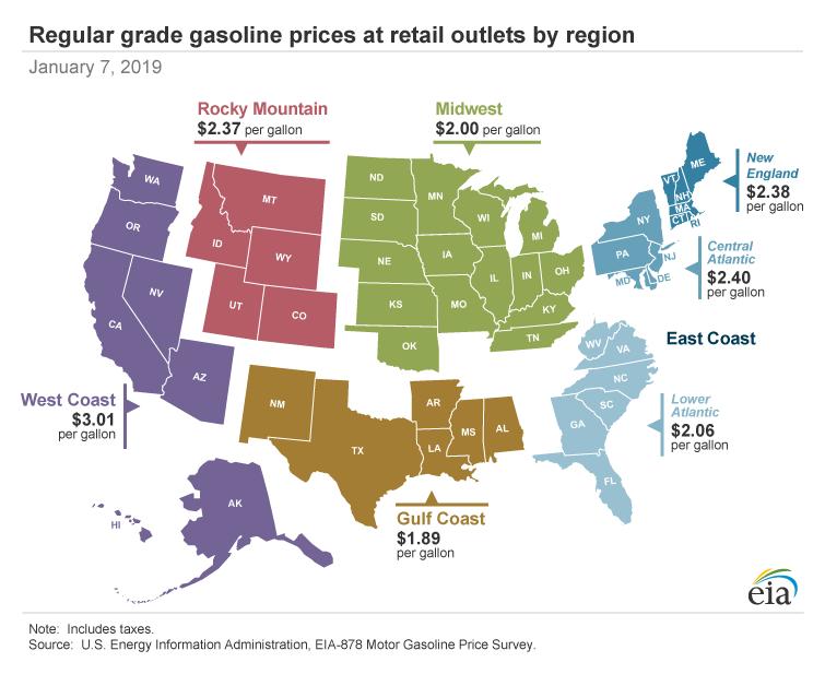 アメリカ生活 ガソリン小売価格を比較│年間でガソリン代はいくらかかる?