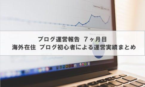 ブログ運営報告 | 海外在住ブログ初心者による運営実績 7ヶ月目